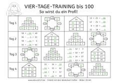Vier-Tage-Mathe-Training: Zahlenraum bis 100 Four-day math training: numbers up to 100 Math Games, Math Activities, Teaching Kids, Kids Learning, Spiral Math, Kindergarten Portfolio, Eureka Math, Montessori Math, German Language Learning