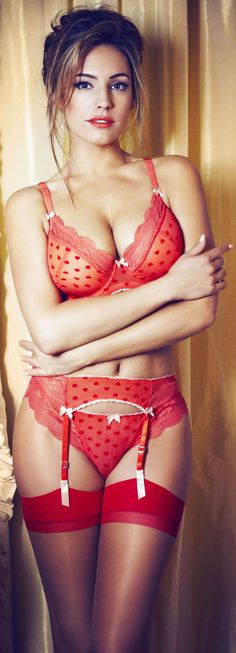 Kelly Brook:  Red-Heart Bra with Matching Garter Belt and Panty and Red Thigh-High Stockings