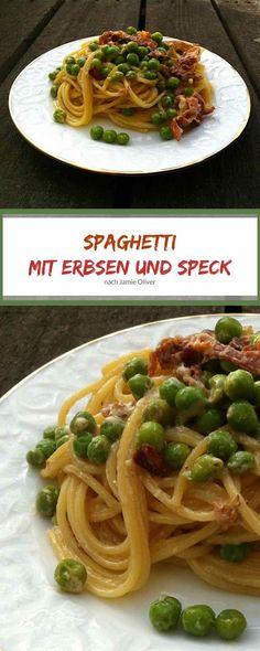 Spaghetti mit Erbsen und Speck nach Jamie Oliver. Wer schnelle Pasta mag, sollte dieses Rezept probieren. #pasta #rezept #pastarezept
