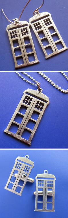 Everyone knows a Whovian...a fan of the Dr Who series.  These earrings, necklace & cufflinks all celebrate the iconic Tardis time machine.