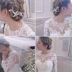 ◌ ͙❁˚ ブーケと同じお花をヘアアレンジに取り入れて * 小花をたくさん散りばめれば繊細な印象になります* * 透け感のあるレースのウェディングドレスも素敵すぎる◌ ͙❁˚ * photo by @_meimu_ * #結婚式 #披露宴 #ヘアアレンジ #ウェディングドレス #ウェディング #ブーケ #wedding #プレ花嫁 #結婚式準備 #marry #marryxoxo