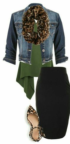 16f2788343c0ad A black pencil skirt with a denim jacket and olive green blouse.