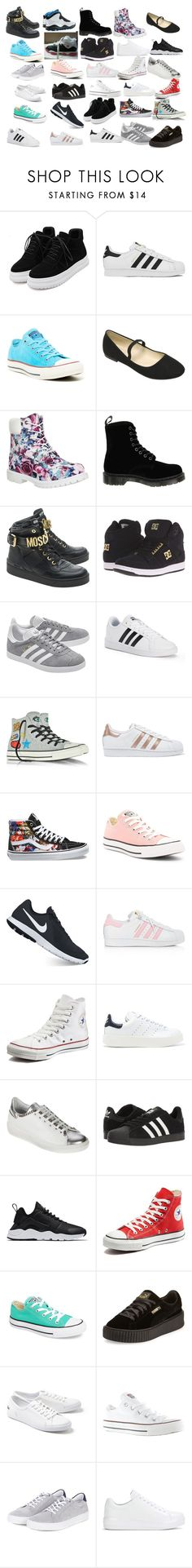 """""""All the shoes in my items"""" by royalty-fashion-love-gymnastics ❤ liked on Polyvore featuring WithChic, adidas, Converse, Timberland, Dr. Martens, Moschino, DC Shoes, adidas Originals, Vans and NIKE"""