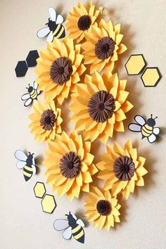8 sunflowers wall decor what will it bee baby girl nursery decor bee paper flowers bee party theme girls room decor baby shower gift Sunflower Wall Decor, Sunflower Party, Sunflower Nursery, Paper Sunflowers, Paper Flowers Diy, Baby Girl Nursery Themes, Girl Themes, Nursery Art, Bee Party