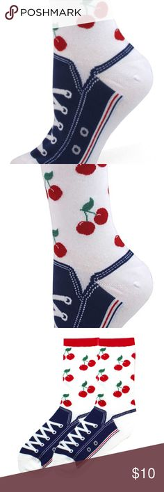 Sneaker Socks - Cherries Can't find the right shoe? No worries, our Women's Skull Sneaker socks have you covered! One Pair Per Package. Made in Korea  60% Cotton / 38% Polyester / 2% Spandex Accessories Hosiery & Socks