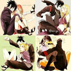 Naruto Couples ♥♥♥ SasuSaku, NaruHina, ShikaTema, InoSai ♥ #Cute #Love