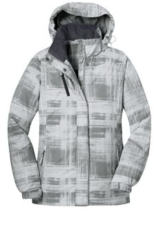 Port Authority Womens Brushstroke Print Insulated Full Zip Hooded Jacket L320