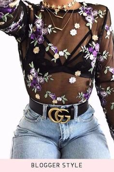 Violet Flower Embroidery Sheer Mesh Blouse Top - Violet Flower Embroidery Sheer Mesh Blouse Top – Jenny Ray Source by - Edgy Outfits, Cute Outfits, Fashion Outfits, Womens Fashion, Grunge Outfits, Fashion 2017, Girl Outfits, Sheer Top Outfit, Black Sheer Blouse