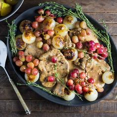 Smothered Pork Chops with Cipollini Onions and Grapes