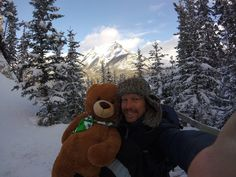 Beautiful snowy mountains with Teddy.