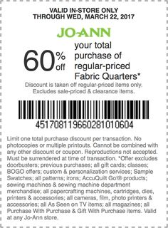 joanns coupon exp 322 60 off your total regular priced purchase