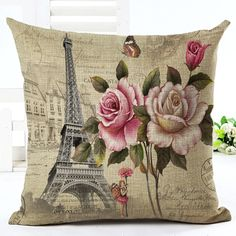 New High Quality Vintage Style Flowers New Home Decorative Cushion Seat Throw Pillow Square Cojines Cotton Linen Almofadas