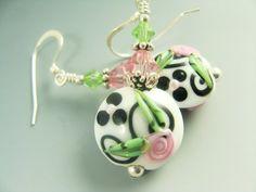 White Black Pink Lampwork Earrings Rose Flower by JadjusJewelry, $28.00