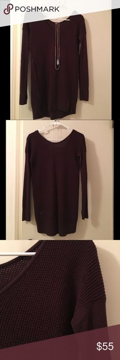 Lululemon mixed texture burgundy sweater. *necklaces not included*  Size 2 Fitted, long length Waffle texture detail Side slit detail Good condition, lightly worn lululemon athletica Sweaters V-Necks