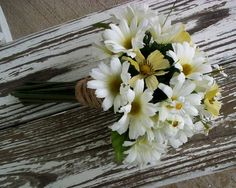 country style wedding bouquet | Hippie Bouquet Daisy Brides Bouquet 70s style wedding flowers ...