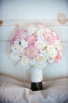 Pink dahlias make a stunning statement against blush roses and white stephanotis accented with crystal throat pins. Bridal Bouquets, Wedding Flowers, Floral Design