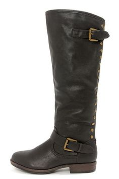 Vegan Leather, Bamboo Montage 83 Black Studded Boots. Look fierce this winter.