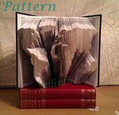 World map book folding pattern by Allinthefolds on Etsy