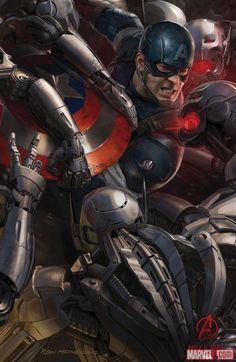 Captain America concept art from Marvel's Avengers: Age of Ultron by Ryan Meinerding