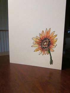 Simple Sunflower Watercolor Card. $3.50, via Etsy.
