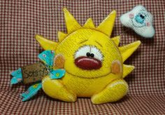 Sonny and Partly Cloudy Pattern - Primitive Doll Pattern - Sunshine - Cloud - Summer Day - Whimsical - Fiber Art - English Only Christmas Treats, Christmas Ornaments, Xmas, Primitive Doll Patterns, Felt Crafts Patterns, Cover Pages, Summer Days, Happy Shopping, Wool Felt