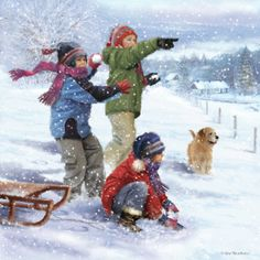 Winter Art, Christmas Illustration, Christmas Cards, Images, Childhood, Clip Art, Illustrations, Beautiful Paintings, Scenery