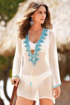 Beaded embellished tunic top