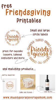 Make your Friendsgiving dinner extra special with these versatile free printable circle labels in two sizes, and you can shop the matching products. Thanks Giving Date, Holiday Activities, Holiday Crafts, Get Off Work, Circle Labels, Parenting Hacks, Free Printables, About Me Blog, How To Get