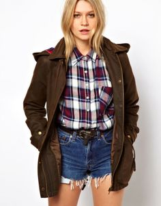 ASOS Waxed Hooded Jacket With Check Lined Hood