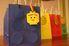 Lego goody bags Lego Movie Party, Lego Movie Birthday, 5th Birthday Boys, Golden Birthday Parties, Lego Themed Party, Birthday Party Favors, Birthday Ideas, Party Party, Childrens Party