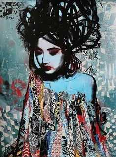 The creations of anglais street artist HUSH, mixing techniques of collage, graffiti, stencil, painting and drawing with talent in a world populated by Japanese geisha, dressed in this colorful mix that characterizes painted walls…