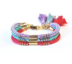 Set of three bracelets - choose your colors, stacking bracelets, knit bracelet with tassel, friendship bracelets