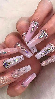 Nail Designs Bling, Diamond Nail Designs, Nails Design With Rhinestones, Cute Acrylic Nail Designs, Diamond Nails, Nail Designs With Gems, Nails With Diamonds, Bling Acrylic Nails, Simple Acrylic Nails