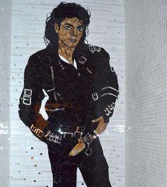 MJ mosaic in NYC bathroom.