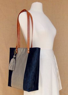 the Laura tote denim and gold by JodyByrdDesign on Etsy, $85.00