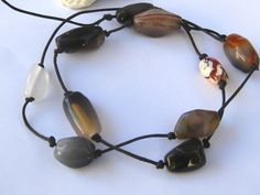 Leather necklace with agate stones or wear as by SunshineDaydreamz, $12.00