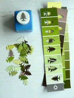 all washi tapes: Great idea for punching paint chips Holiday Crafts, Fun Crafts, Diy And Crafts, Crafts For Kids, Arts And Crafts, Simple Christmas Crafts, Christmas Paper Crafts, Origami, Ideias Diy