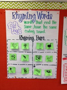 Rhyming words - intro to rhyming pairs for couplet anchor chart. Students played a 'find your rhyming partner' game and put their pair of rhymes on the chart. Ela Anchor Charts, Kindergarten Anchor Charts, Kindergarten Literacy, Preschool, Literacy Centers, School Rhymes, Early Childhood Activities, Rhyming Activities, Phonics Words
