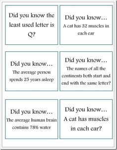 Did You Know  lunchbox notes