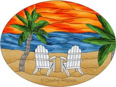 Stained Glass Tropical Sunset Panel w/ Adirondack Chairs & Palm Trees Faux Stained Glass, Stained Glass Designs, Stained Glass Panels, Stained Glass Projects, Stained Glass Patterns, Mosaic Patterns, Mosaic Ideas, Mosaic Art, Mosaic Glass