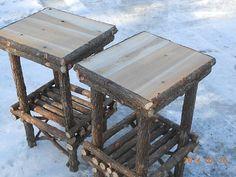 Twig-Furniture-Rustic-Cedar-Log-End-Table-Handcrafted-Handmade-Set-of-Two