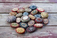 crochet covered stones by Margaret Oomen of Resurrection Fern
