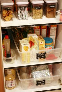 Use flat storage containers in closets as pull-out shelves!
