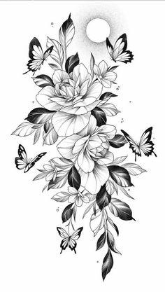 Dope Tattoos, Hip Thigh Tattoos, Hip Tattoos Women, Sleeve Tattoos For Women, Small Tattoos, Tattoo Arm Frau, Arm Tattoo, Floral Tattoo Design, Flower Tattoo Designs