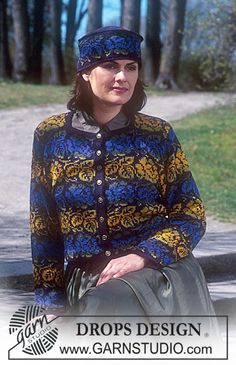 DROPS 63-8 - DROPS Brocade cardigan and Hat in Silke Tweed. - Free pattern by DROPS Design