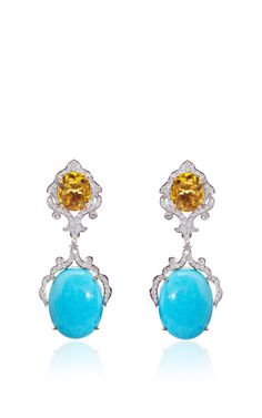 Turquoise And Citrine Earrings by Farah Khan Fine Jewelry for Preorder on Moda Operandi