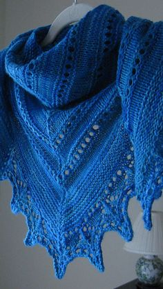 Ravelry: Alma Ella Shawl pattern by Robin Lynn Free. Knit from lace edge to flat top, decreasing as you knit