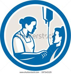 Illustration of a nurse tending a sick patient in bed with iv intravenous drip in background set inside circle done in retro style. Smurfs, Retro Fashion, Sick, Royalty Free Stock Photos, Retro Style, Artwork, Retro Illustrations, Pictures, Male Man