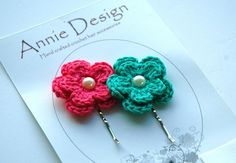 Crochet flower hair bobby pins | Flickr - Photo Sharing!