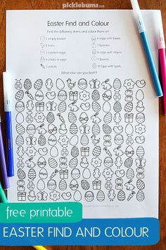 Easter Find and Colour Activity - free printable fun! Printables For Moms and Room Moms Easter Activities For Kids, Spring Activities, Color Activities, Easter Crafts For Kids, Easter Ideas, Easter Colouring, Colouring Pages, Easter Printables, Free Printables